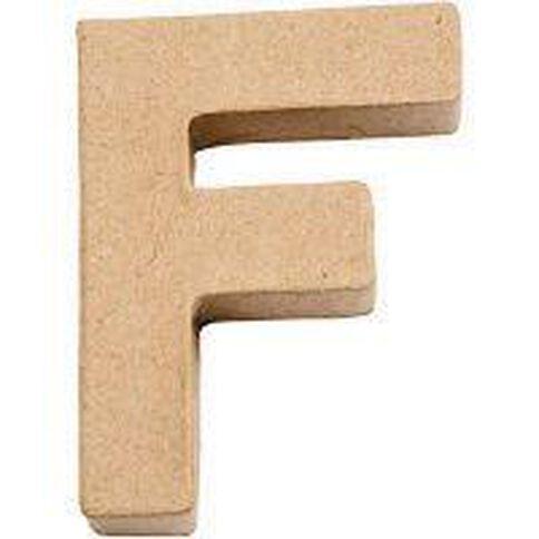 Paper Mache Alphabet Small Symbol F 10cm Brown