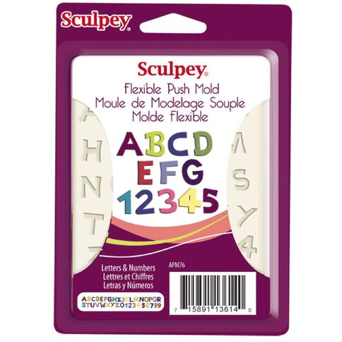 Sculpey Push Mold Letters & Numbers Cream