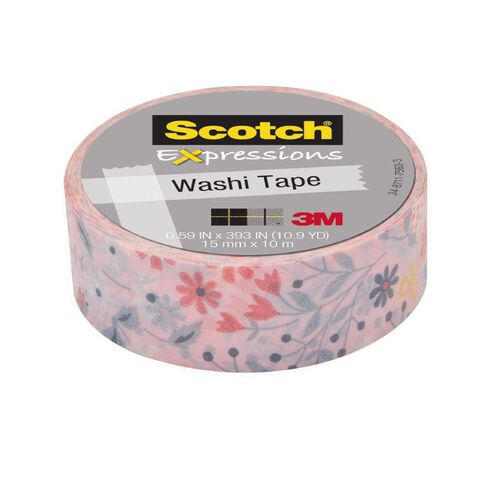 Scotch Washi Craft Tape 15mm x 10m Spring Flowers