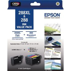 Epson 288XL Black+288 3 Std CMY DURABrite Ink