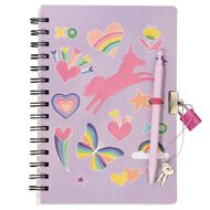 Kookie Rainbow Moulded Lockable Notebook A5 with Pen
