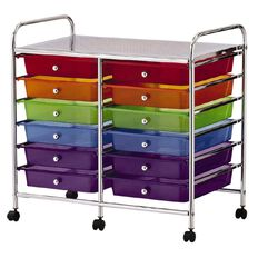 Workspace Chrome Trolley Multi-Coloured 12 Drawer