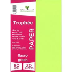 Trophee Paper 80gsm 30 Pack Fluoro Green A4