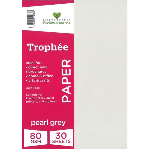 Trophee Paper 80gsm 30 Pack Peral Grey A4