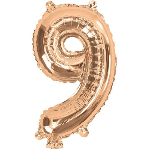 Artwrap Party Foil Balloon Number 9 Rose Gold 35cm