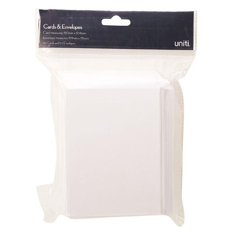 Uniti Cards & Envelopes White 50 Pack