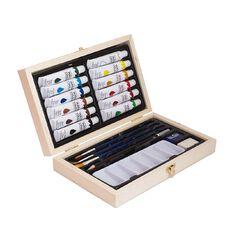 Jasart Mini Wooden Box Acrylic Set 20 Piece