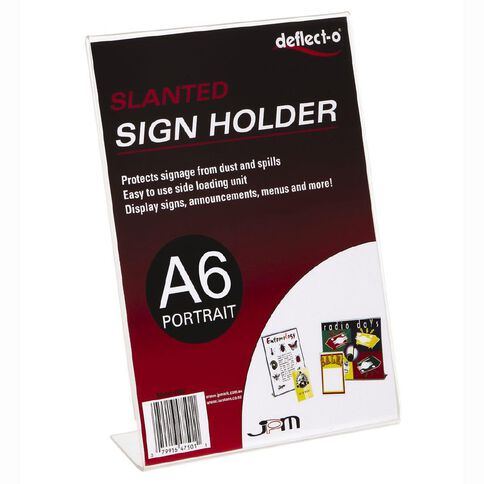 Deflecto Sign/Menu Holder Slanted Portrait Clear A6