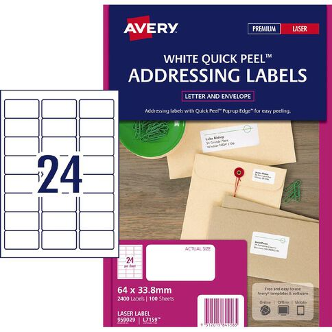 Avery Address Labels with Quick Peel White 2400 Labels