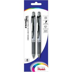Pentel Energel Deluxe Retractable Pen Pack 2 Black