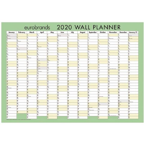 Eurobrands 2020 Wall Planner Laminated 297mm x 420mm A3