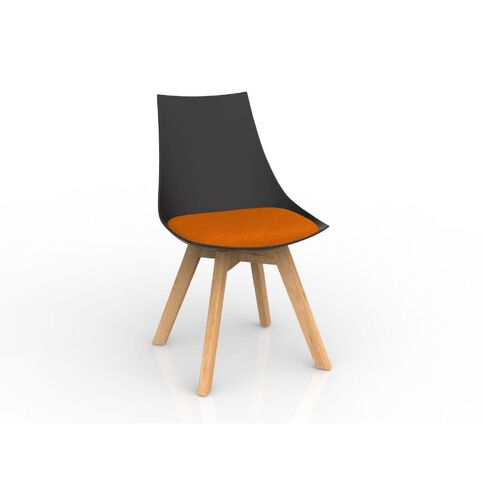 Luna Black Sunset Orange Oak Base Chair Orange