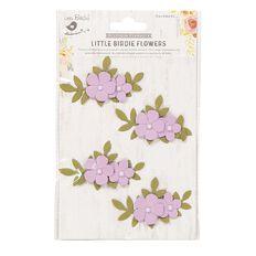 Little Birdie Flower Sticker Pearly Bluma Purple 4 Piece
