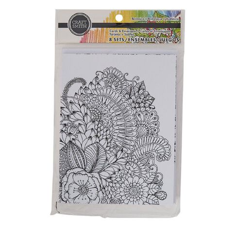 Craft Smith Colouring Card & Envelopes Floral Black/White