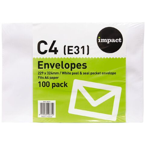 Impact Envelope E31/C4 Peel & Seal 100 Pack White