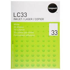 Impact Labels 20 Sheets A4/33 White
