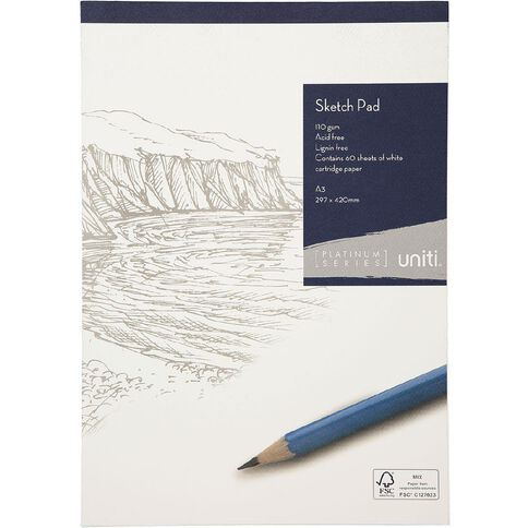 Uniti Platinum Sketch Pad 110gsm A3 60 sheets