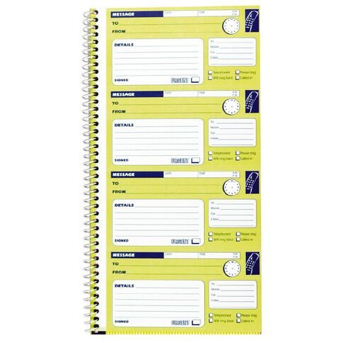 Spirax Telephone Message Book 550 Ncr Yellow
