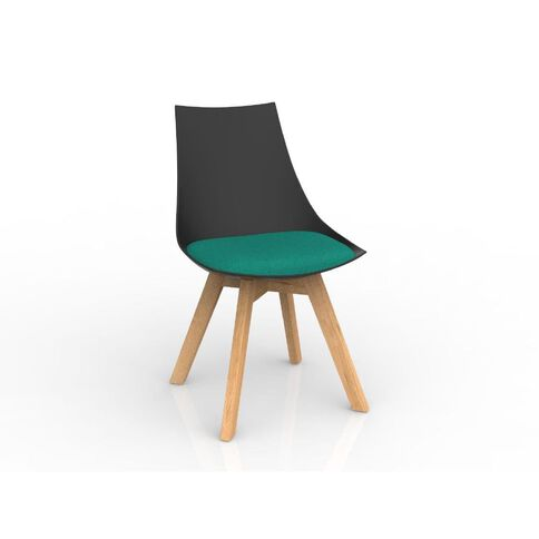 Luna Black Emerald Green Oak Base Chair Green