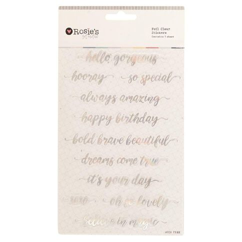 Rosie's Studio Foil Clear Stickers Phrases Script