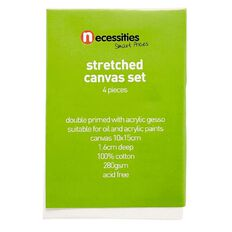 Necessities Brand Blank Canvas 10cm x 15cm 4 Pieces White 4 Pack