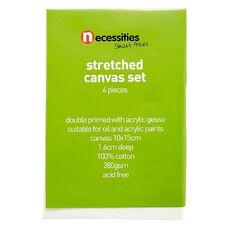 Necessities Brand Blank Canvas 10cm x 15cm 4 Pieces White 4 Pack