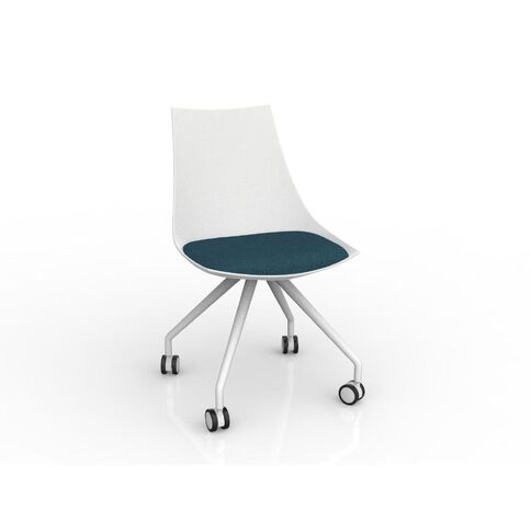 Luna White Deep Blue Chair