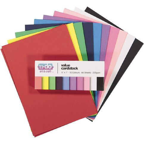 U-Do Value Cardstock Smooth 220gsm Brights 7in x 5in 60 Sheets