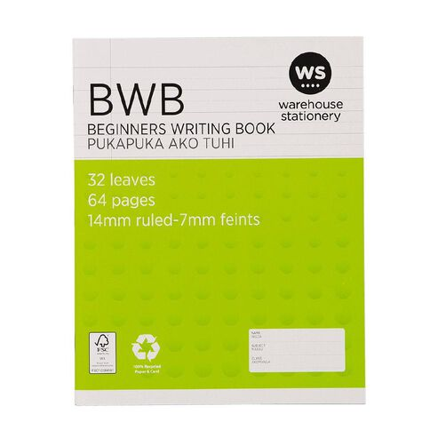 WS Exercise Beginners Writing Book (BWB) 14mm Ruled 32 Leaf Green