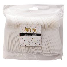 Party Inc Dessert Spoons White 50 Pack