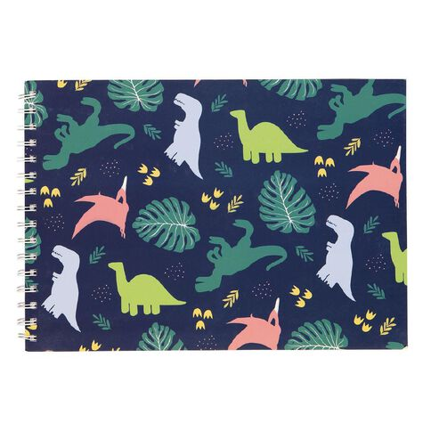 Kookie Chomp Sketch Pad Dinousaurs Navy A4
