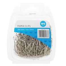 WS Paper Clips Triangular 25mm 200 Pack Silver