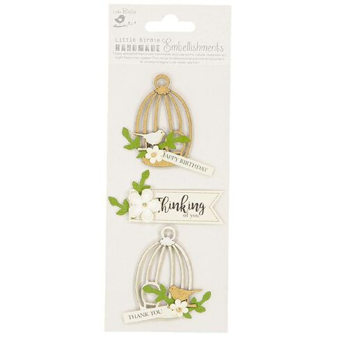 Little Birdie Embellishment Chirpy Wishes 3 Piece