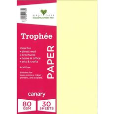 Trophee Paper 80gsm 30 Pack Canary Yellow A4