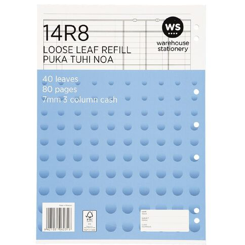WS Pad Refill 14R8 7mm 3 Column Cash Ruled 40 Leaf Punched