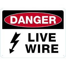 WS Danger Live Wire Sign Large 450mm x 600mm