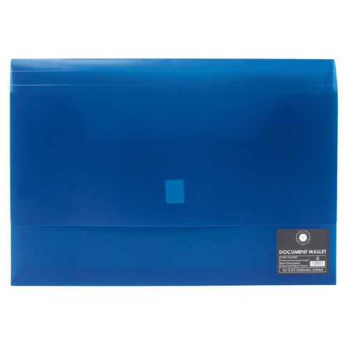 Office Supply Co Document Wallet Gusset/Velcro Closure Blue A4