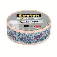 Scotch Washi Craft Tape 15mm x 10m Mint Flowers