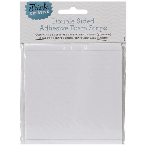 Think Creative 3D Foam Strips 5 x 100mm White 40 Pack