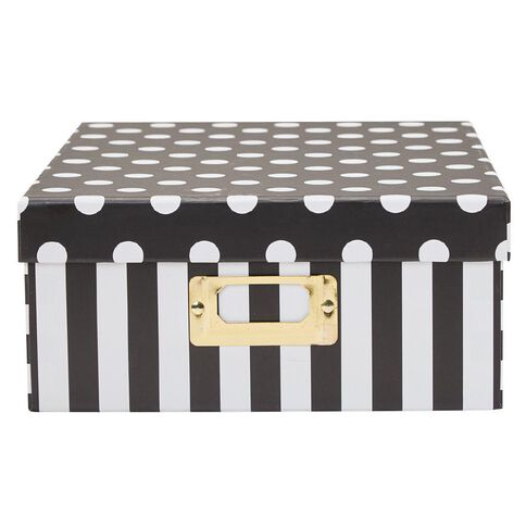 Uniti Black&Gold Storage Box Black/White Stripes