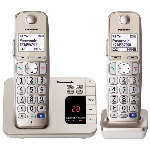 Panasonic Kx-Tge222Azn Twin Cordless Phone With Answerphone Silver