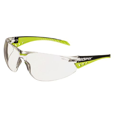 XSPEX Safety Spec Lens Wraparound Style With Soft Rubber Sidearms Clear