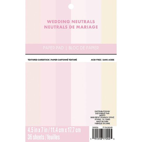 Recollections Paper Pad Wedding Naturals 4.5in x 7in