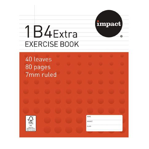 Impact Exercise Book 1B4 Extra 7mm Ruled 40 Leaf Red