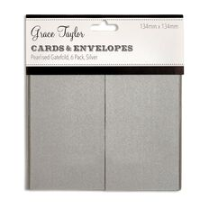Grace Taylor Cards and Envelopes Silver Gatefold 6 Pack Clear Small