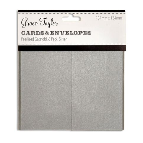 Grace Taylor Cards and Envelopes Pearlised Silver 6 Pack Clear Small