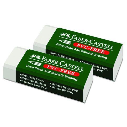 Faber-Castell Eraser Medium 2 Pack White