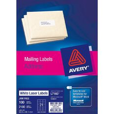 Avery Laser Labels L7160-21 Pack 100 White