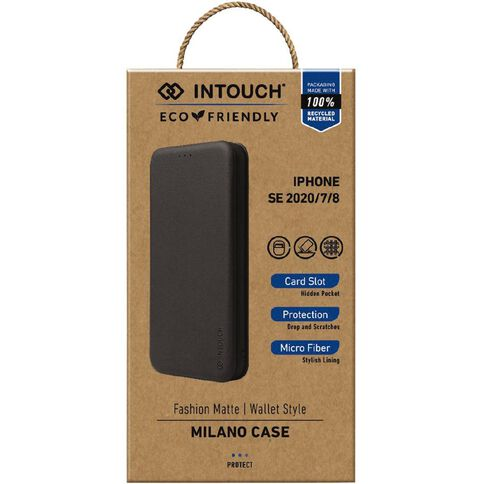 INTOUCH iPhone 7/8/SE Milano Wallet Case Black