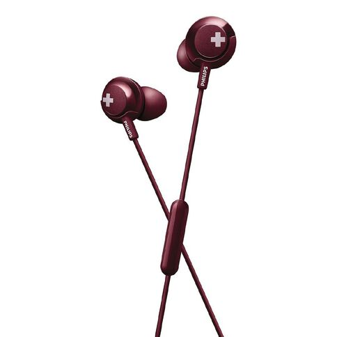 Philips In Ear Bass+ Earbuds with Mic Red